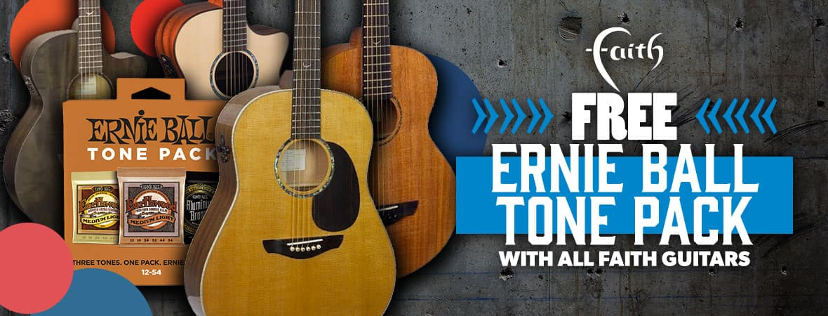 Summer Sale 2018 - three packs of Ernie Ball strings FREE with any Faith guitar at Andertons Music Co!